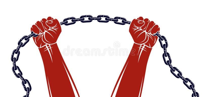 De sterke hand klemde vuist dicht vechtend voor vrijheid tegen het themaillustratie van de kettingsslavernij, vectorembleem of ta vector illustratie