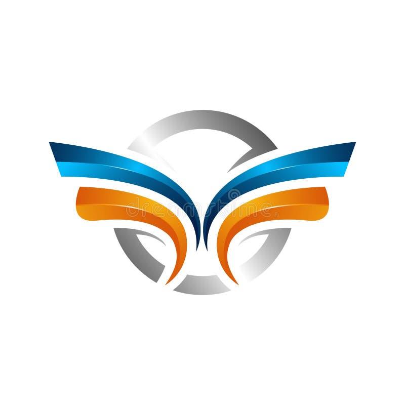 de sterke vleugels vatten gewaagd kleurenembleem, het Gevleugelde embleembedrijf en pictogramvleugel vliegen, het merk van de ade royalty-vrije illustratie