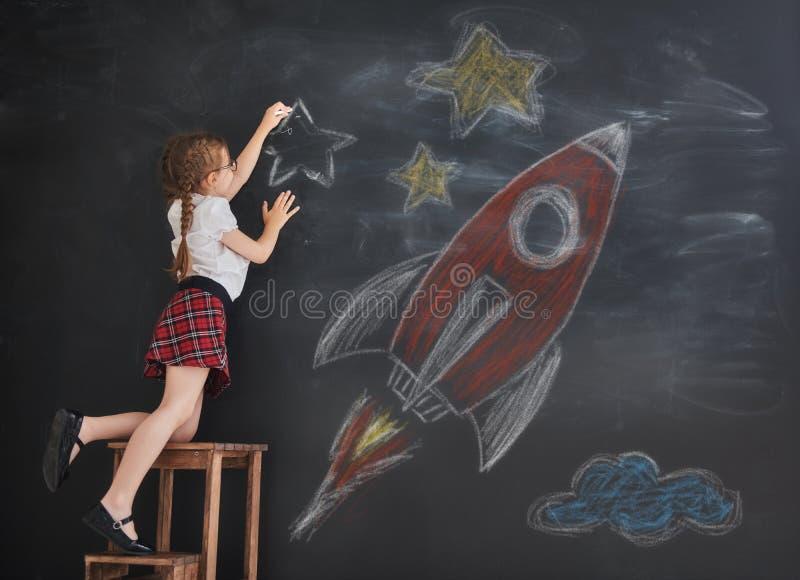 De sterren en de raket van de kindtekening stock fotografie