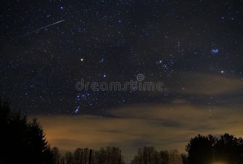 De sterren van de nachthemel, Orion-de stercluster van Pleiades van de constellatiemeteoor stock fotografie