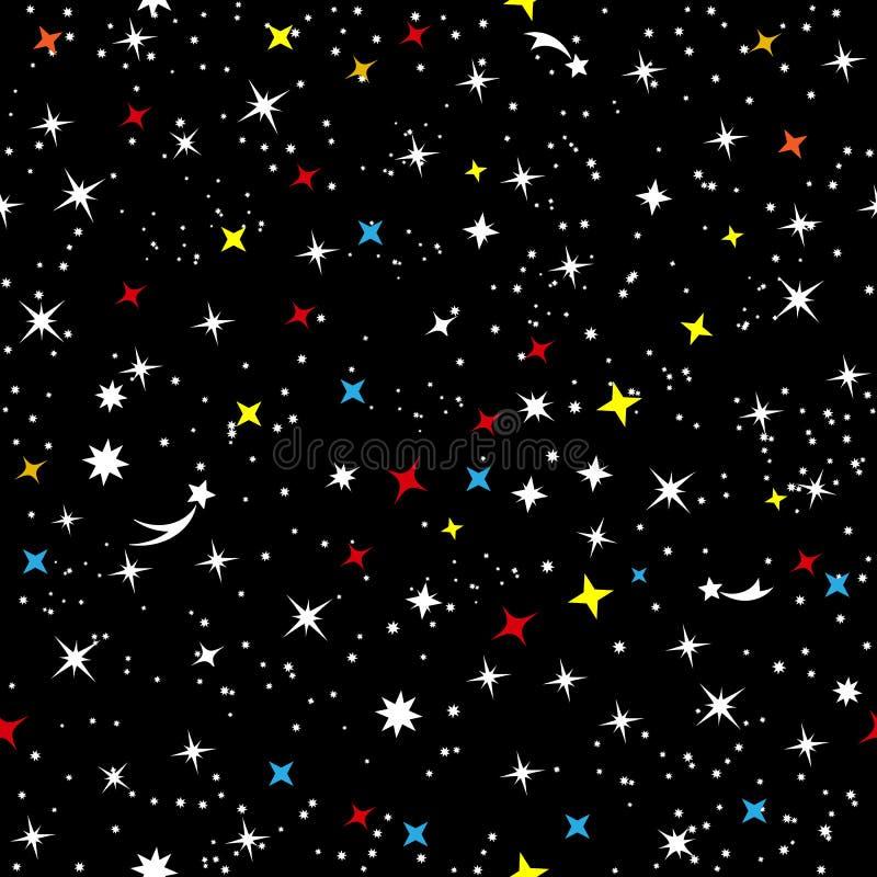 De sterrige hemel van het heelal Abstract kinderen` s eenvoudig ruimtekader Constellatie van de Melkweg op een naadloze zwarte royalty-vrije illustratie