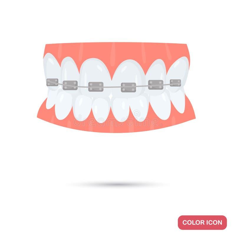 De steunen op tanden kleuren vlak pictogram voor Web en mobiel ontwerp royalty-vrije illustratie