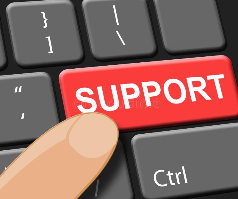 De steunsleutel toont Online Hulp 3d Illustratie royalty-vrije illustratie