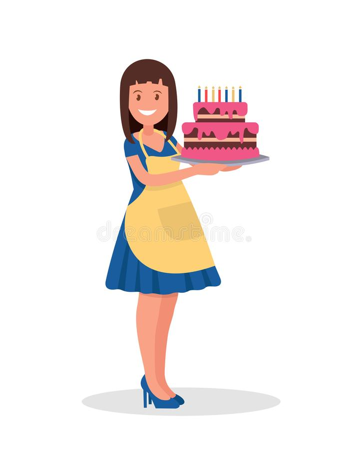 De stewardess houdt een mooie cake stock illustratie