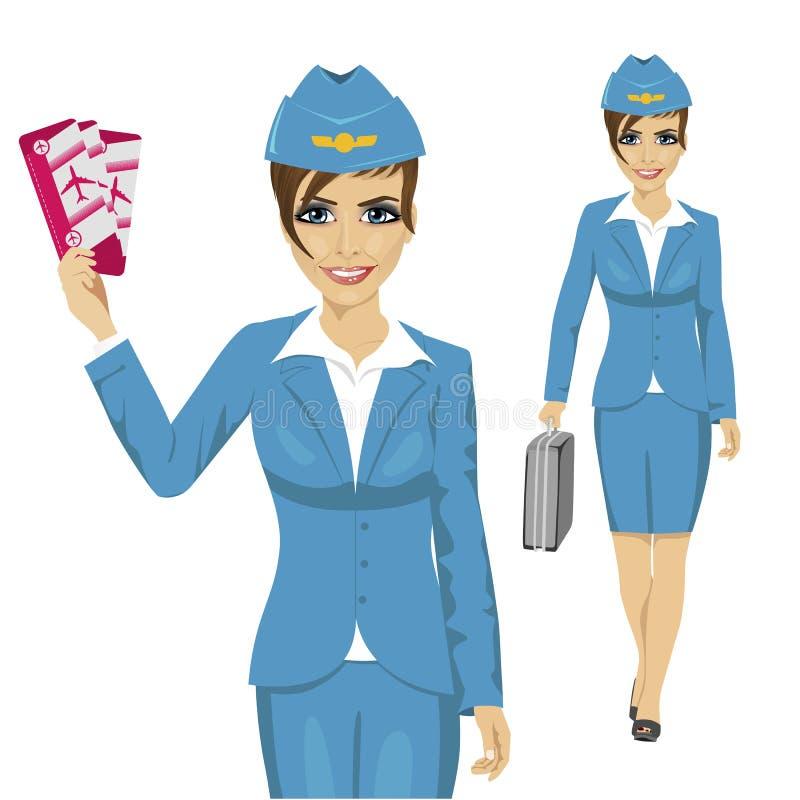 De stewardess kleedde zich in blauwe eenvormige holding kaartjes en het lopen met aktentas vector illustratie