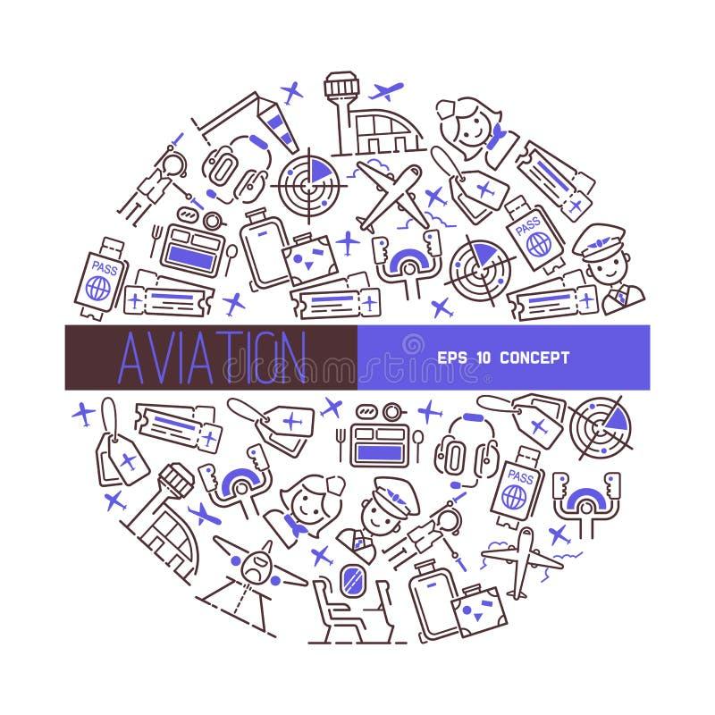 De stewardess proefmensen die van de luchtvaart vectorvliegtuigbemanning op het vliegtuig reizen die van het vliegtuigenvliegtuig vector illustratie