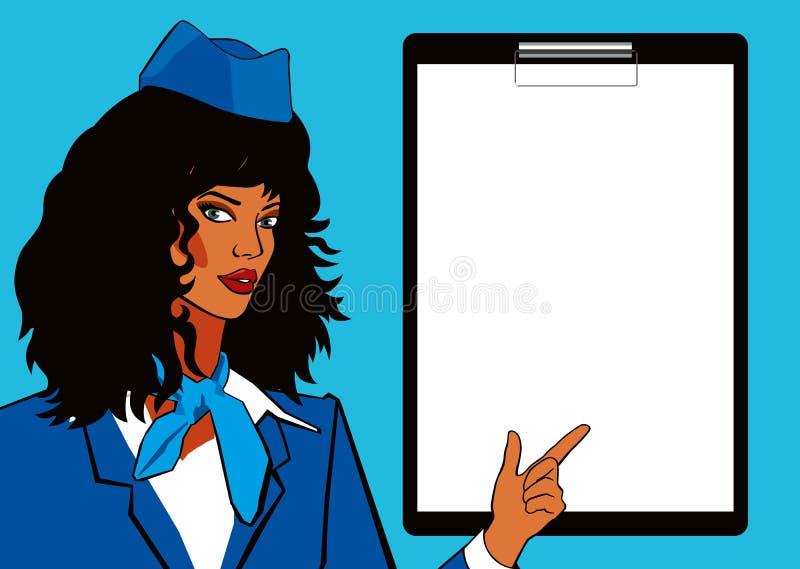 De stewardess van het pop-artmodel en leeg blad voor tekst Mooi meisje met dik zwart haar in eenvormig stock illustratie