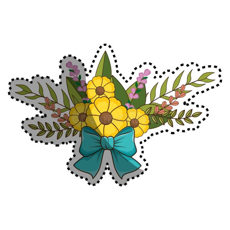 De sticker bloeit boeket bloemenontwerp met bladeren en blauwe lintband royalty-vrije illustratie