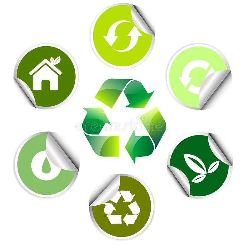 De sticker van de ecologie, pictogram vector illustratie