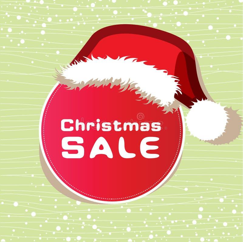 De sticker van de verkoop draagt een hoed van Kerstmis stock illustratie