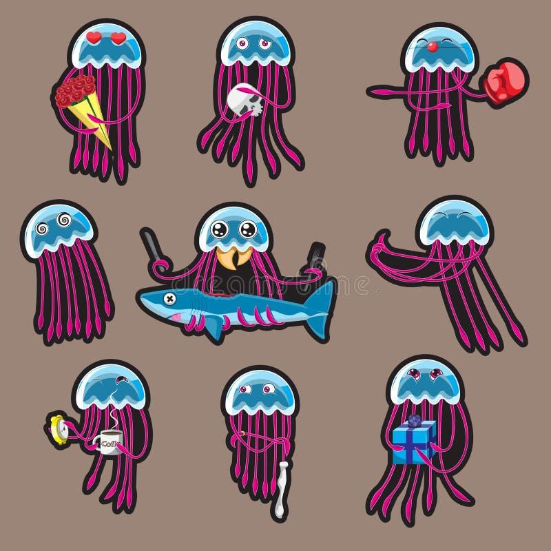 De sticker van een beeldverhaal octopusset van stickers grappige kwallen drukt emoties uit beeld stock illustratie