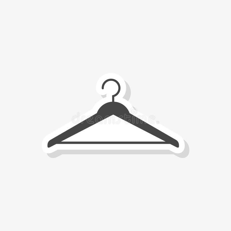 De sticker van het hangerteken, Garderobesymbool, eenvoudig vectorpictogram royalty-vrije illustratie