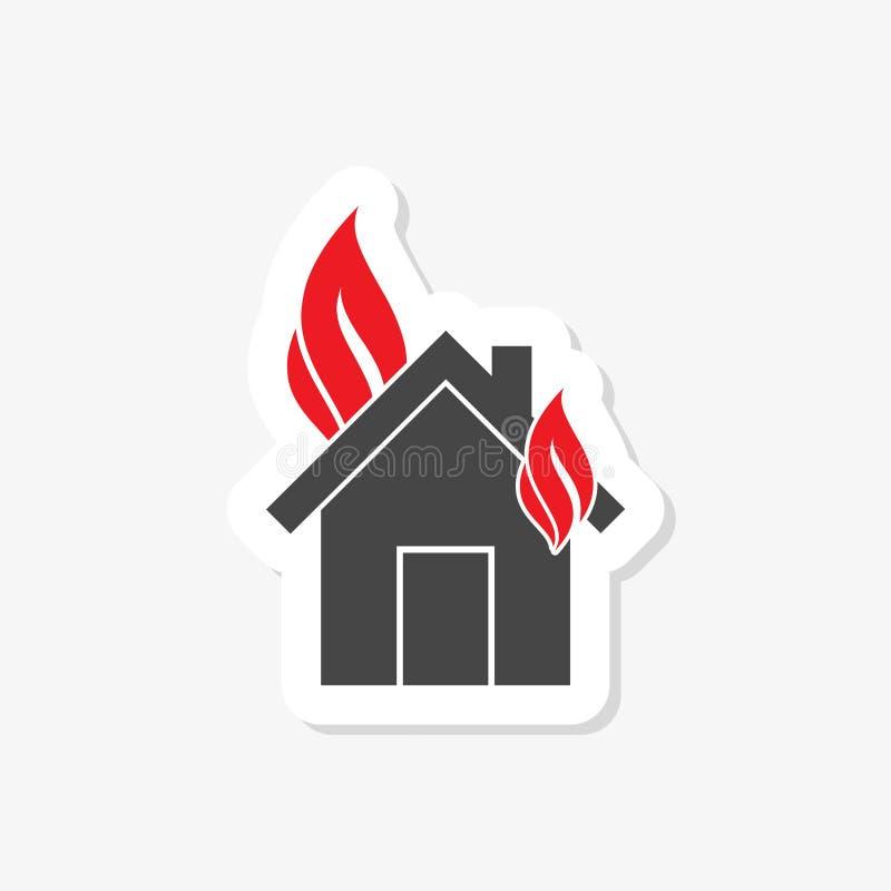 De sticker van de huisbrandverzekering, gevuld vlak teken voor mobiel concept en Webontwerp stock illustratie