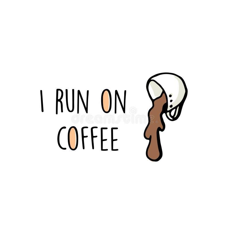 De sticker van de koffiepret met citaat stock illustratie
