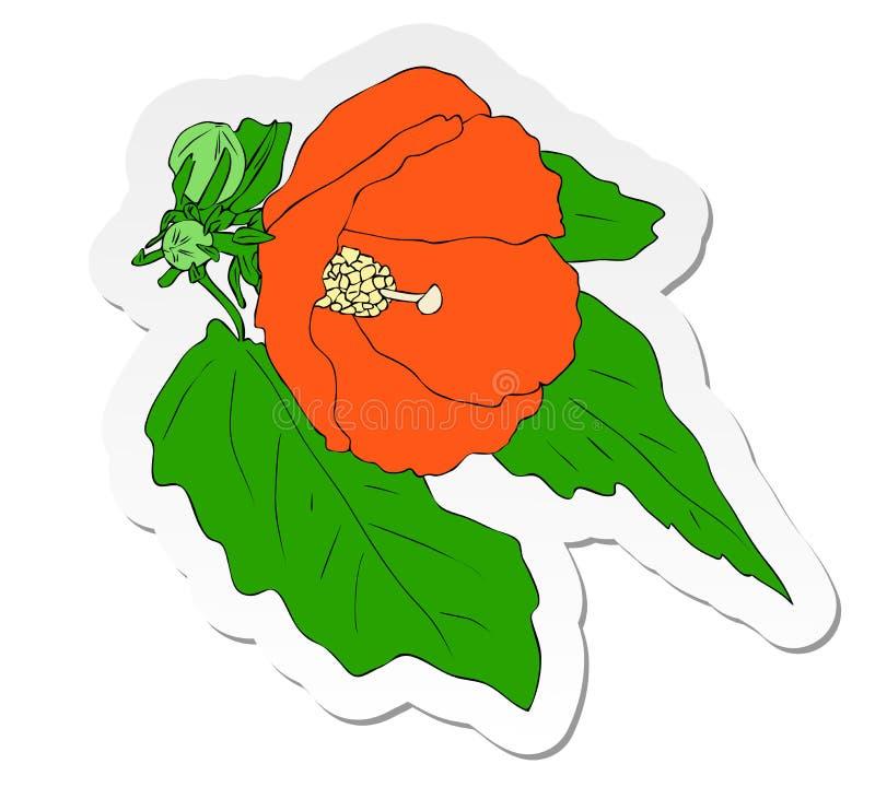De sticker van oranje Hibiscus bloeit in vlakke die beeldverhaalstijl op witte achtergrond wordt geïsoleerd vector illustratie