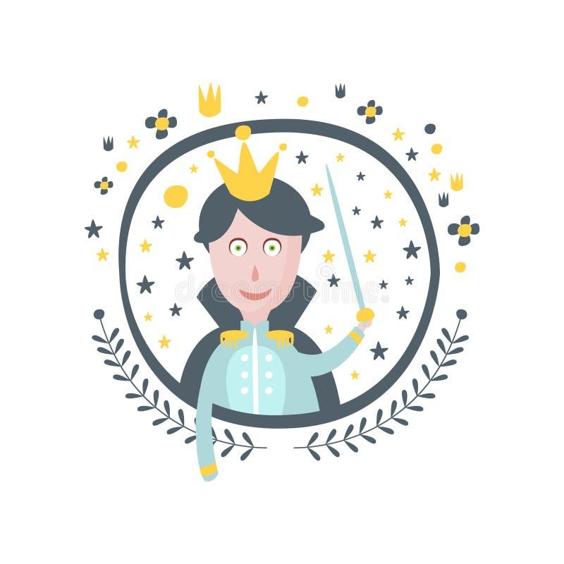 De Sticker van prinsfairy tale character Girly in Rond Kader stock illustratie
