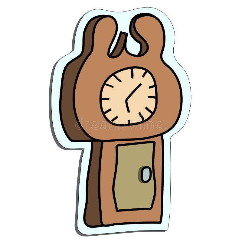 De sticker van de staand horlogekrabbel royalty-vrije illustratie