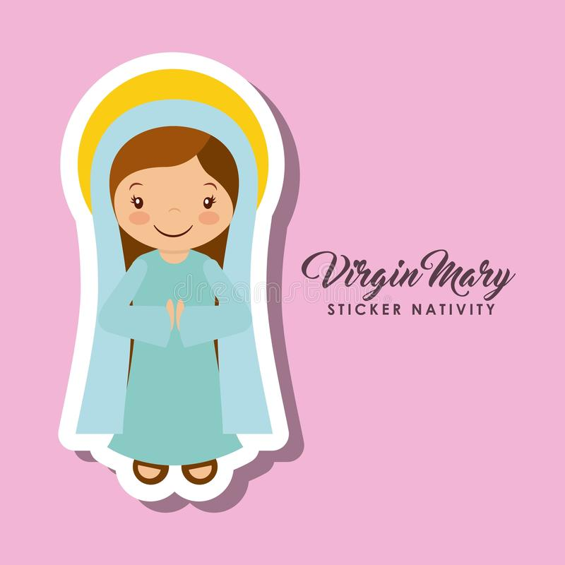 De sticker van Virgenmary vector illustratie