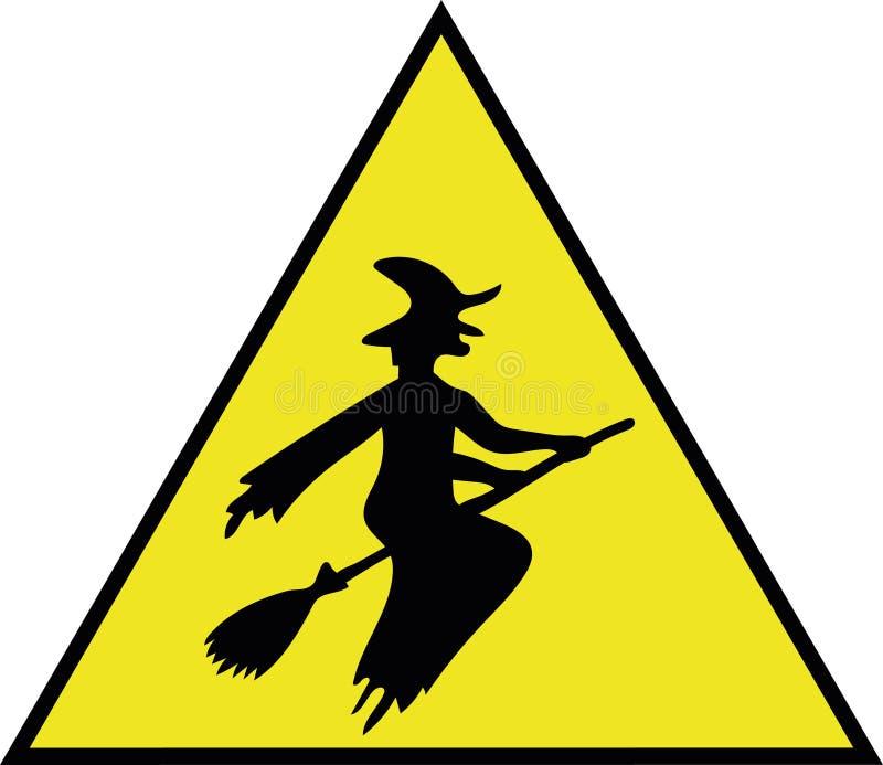 De sticker voor auto 'zorgvuldig is, drijvend een heks! ' vector illustratie