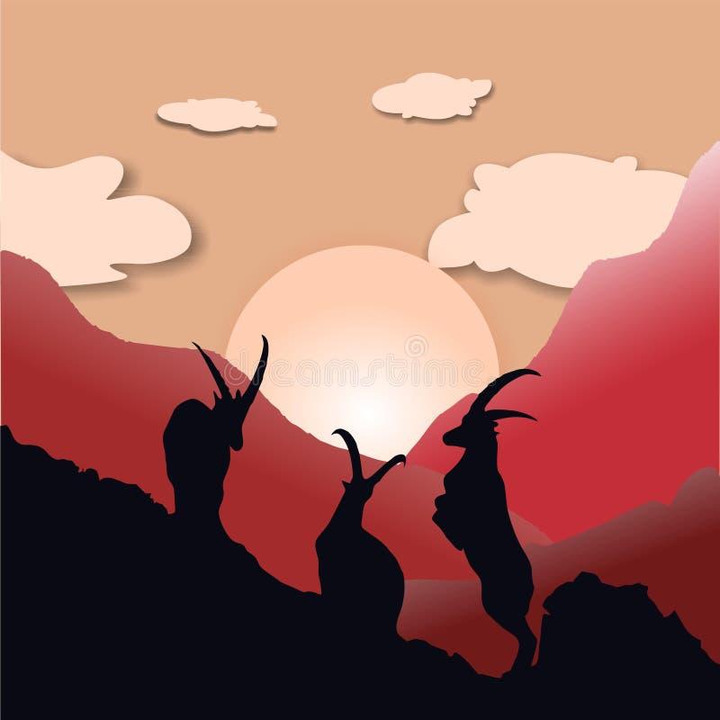De stickerillustratie van het geitsilhouet vector illustratie