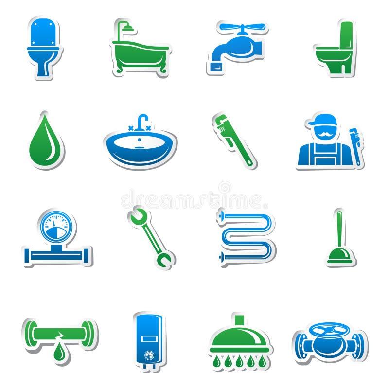 De stickerinzameling van loodgieterswerkhulpmiddelen royalty-vrije illustratie