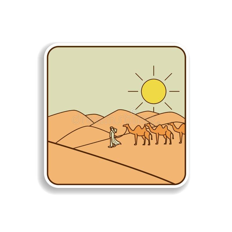 De stickerpictogram van Arabier en van kamelen Element van pictogram van de kleuren het Arabische cultuur Het pictogram van het d royalty-vrije illustratie