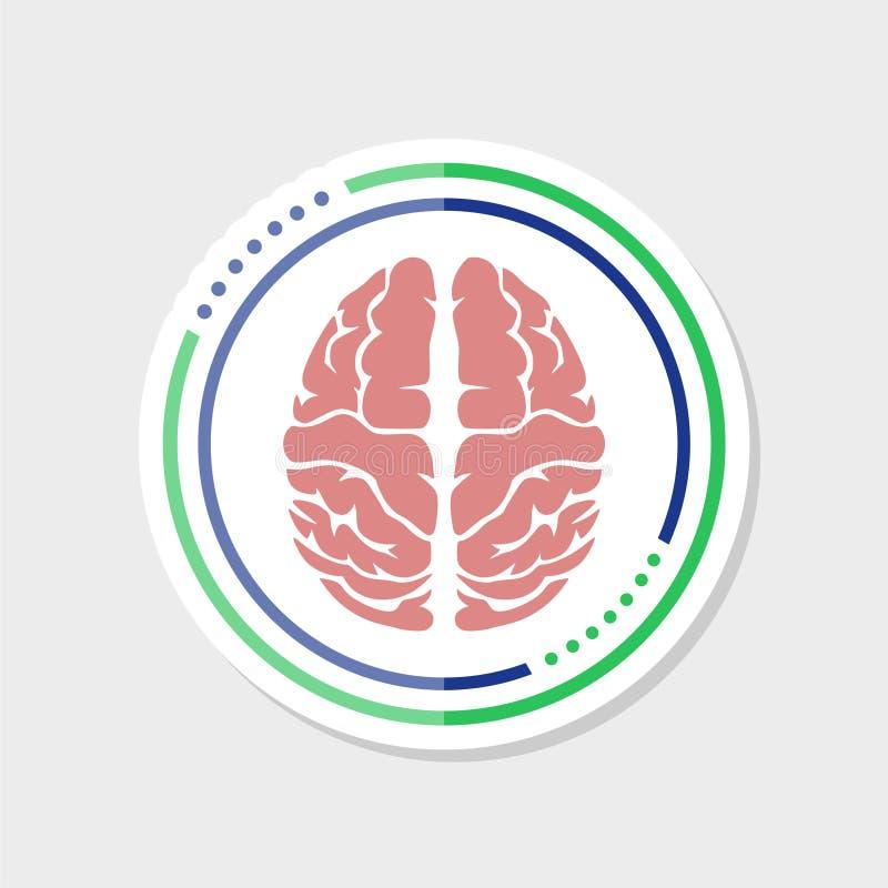 De stickerpictogram van meningshersenen Het eenvoudige die pictogram van meningshersenen voor Webontwerp op witte achtergrond wor royalty-vrije illustratie