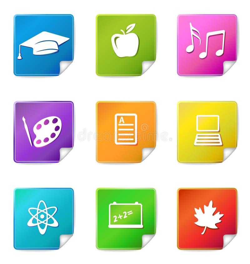 De stickerpictogrammen van het onderwijs royalty-vrije illustratie