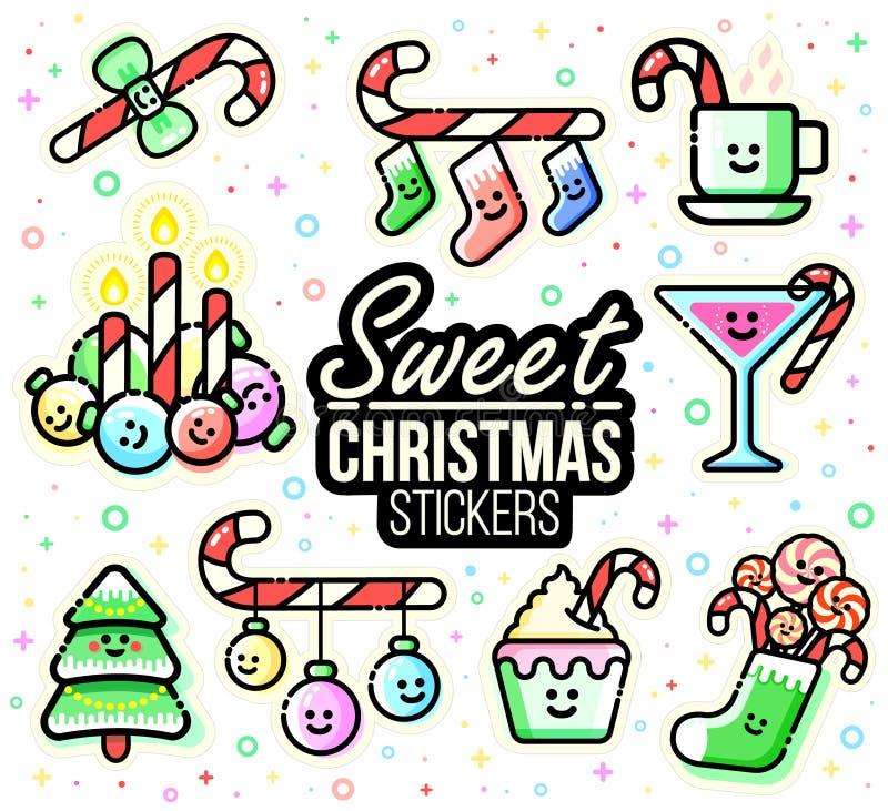De stickerreeks van Kerstmiskarakters Suikergoedriet, ornamenten, kousen, dranken, kaarsen, Kerstmisdecoratie Vlakke lijnstijl vector illustratie