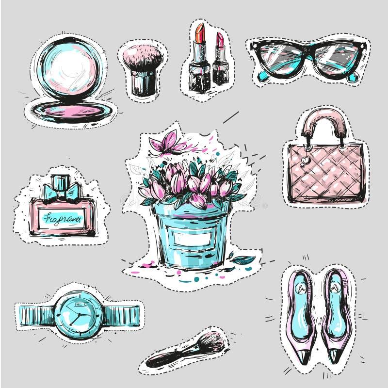 De stickers of de kentekens van manierelementen overhandigen getrokken stijl royalty-vrije illustratie