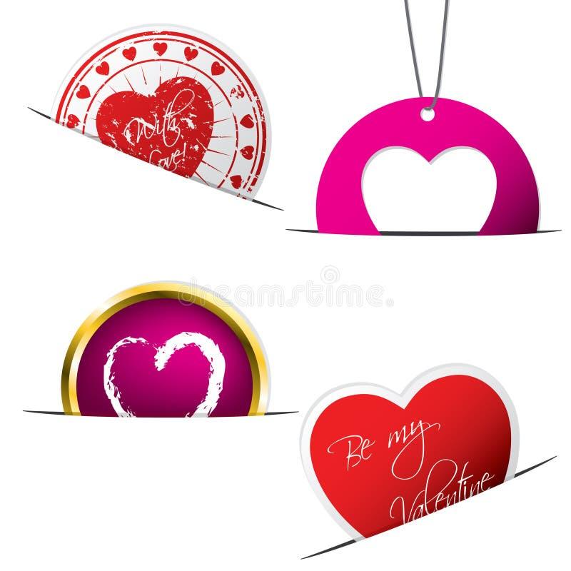 De stickers en de etiketten van de valentijnskaart vector illustratie