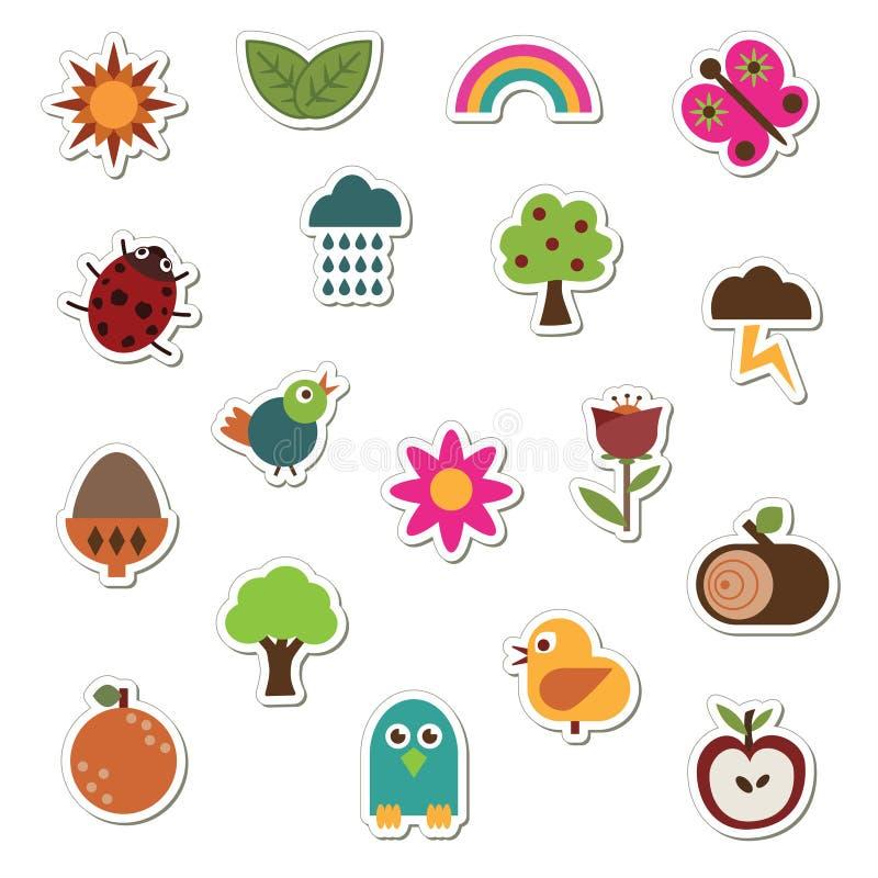 De stickers van de aard vector illustratie