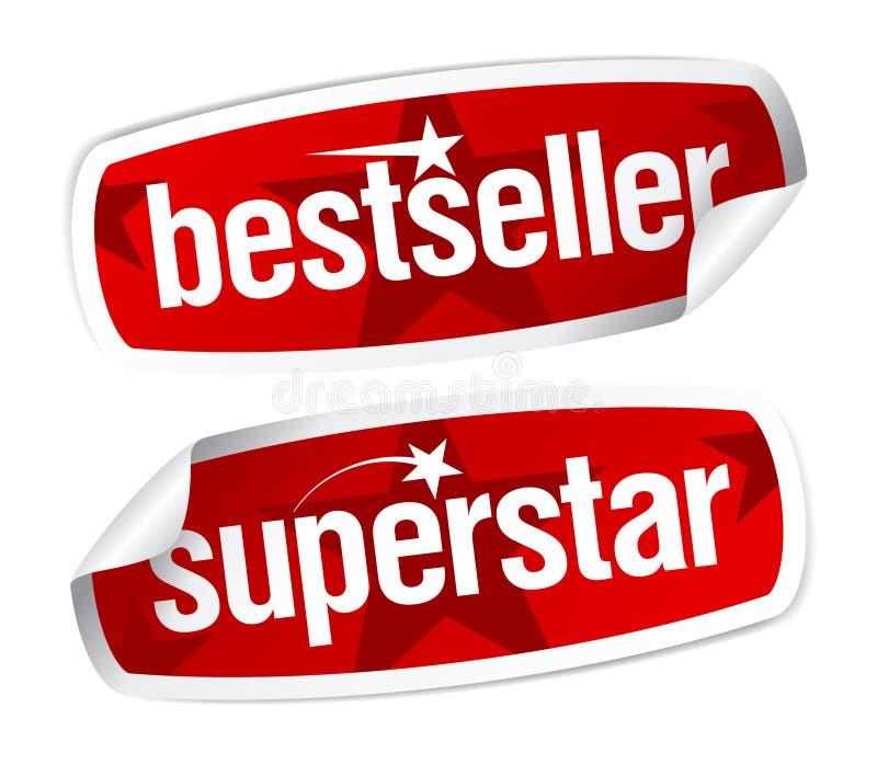 De stickers van de best-seller en van de superster. stock illustratie