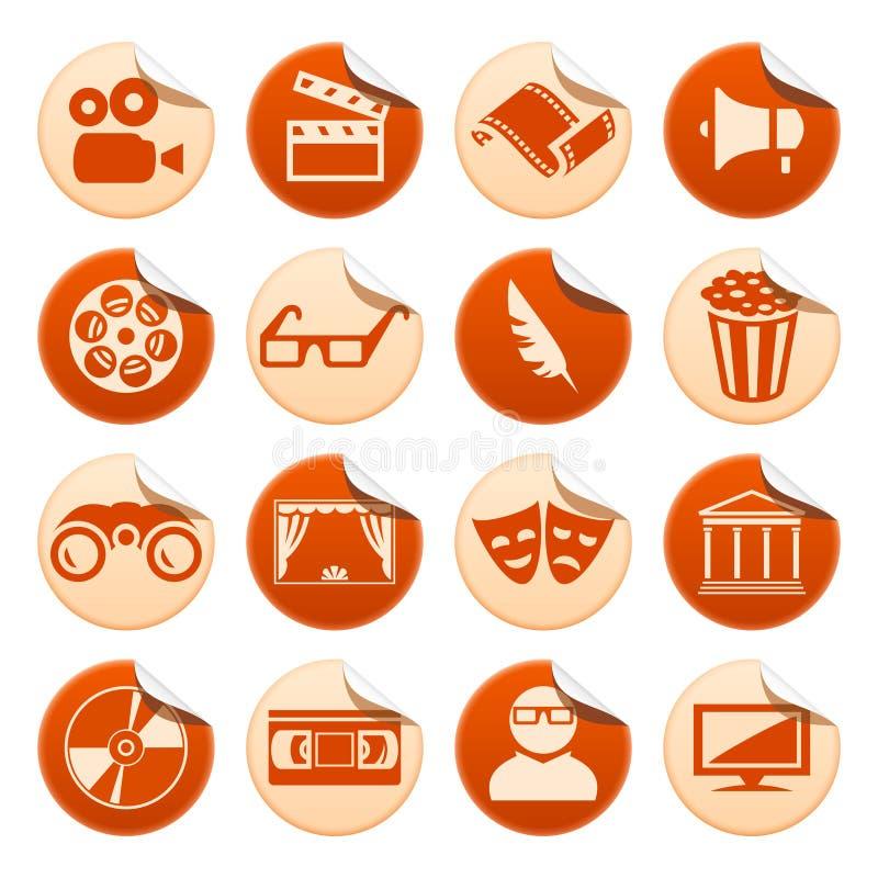 De stickers van de bioskoop en van het theater vector illustratie