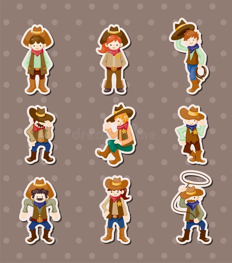 De stickers van de cowboy royalty-vrije illustratie