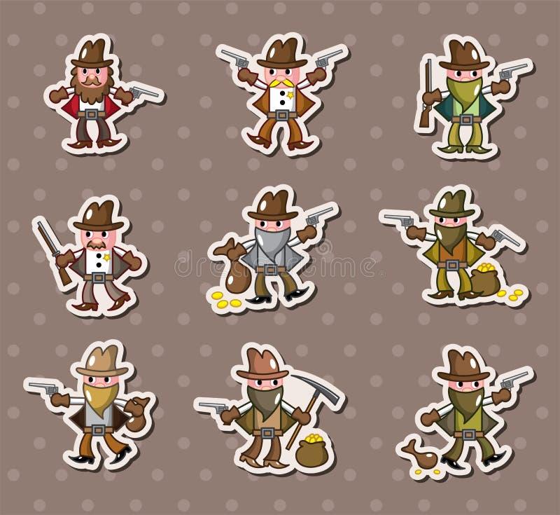 De stickers van de cowboy stock illustratie