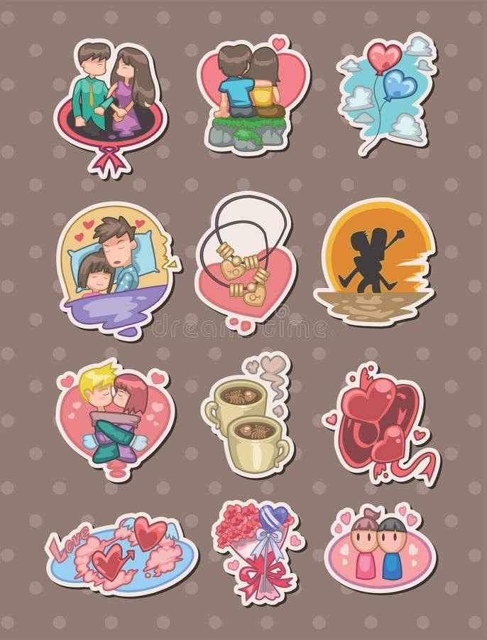 De stickers van de Dag van de Valentijnskaart van het beeldverhaal vector illustratie