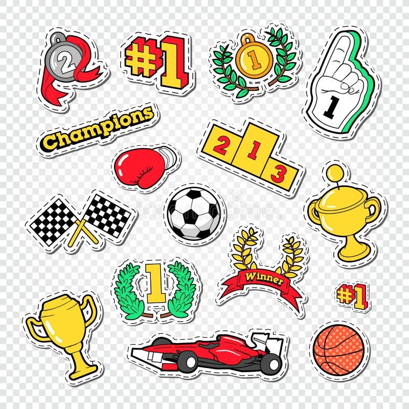 De Stickers van de de Trofeewinnaar van het sportensucces met Medailles, Podium en Toekenning worden geplaatst die vector illustratie