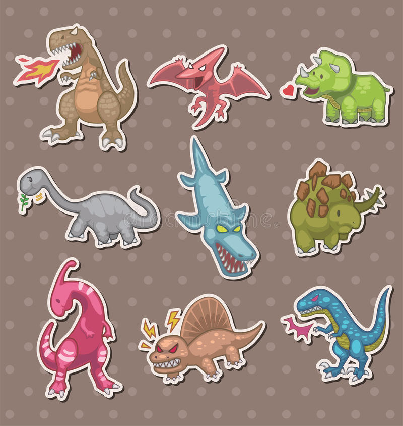 De stickers van de dinosaurus stock illustratie
