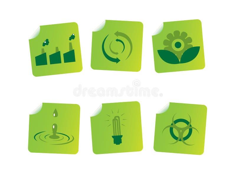 De stickers van de ecologie vector illustratie