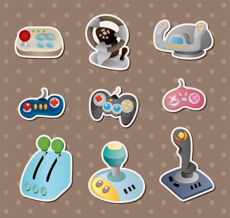 De stickers van de het spelbedieningshendel van het beeldverhaal royalty-vrije illustratie