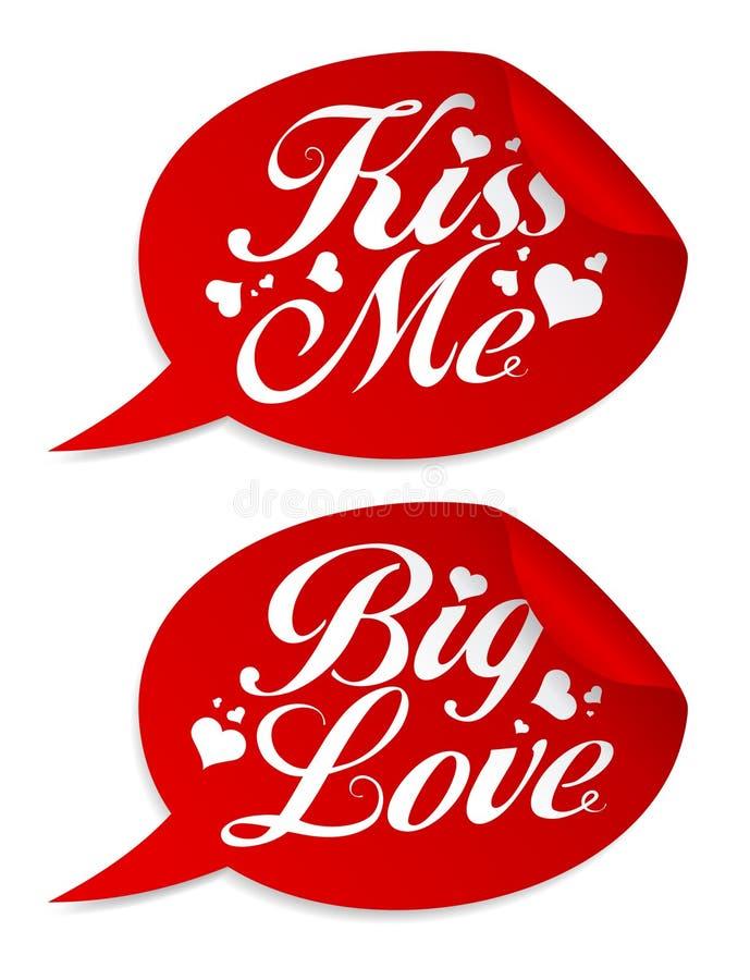 De stickers van de valentijnskaart. stock illustratie
