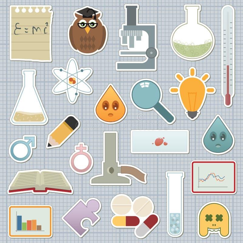 De stickers van de wetenschap stock illustratie