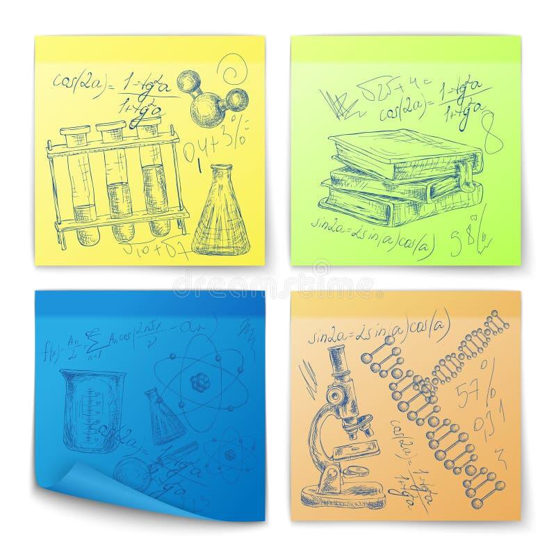 De stickers van de wetenschapsschets vector illustratie