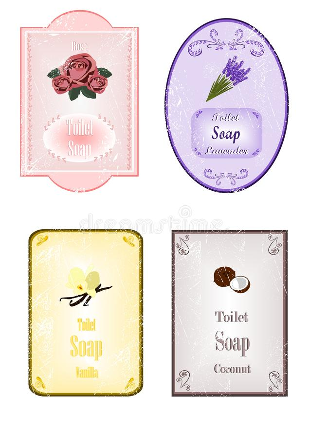 De stickers van de zeep met krassen stock illustratie
