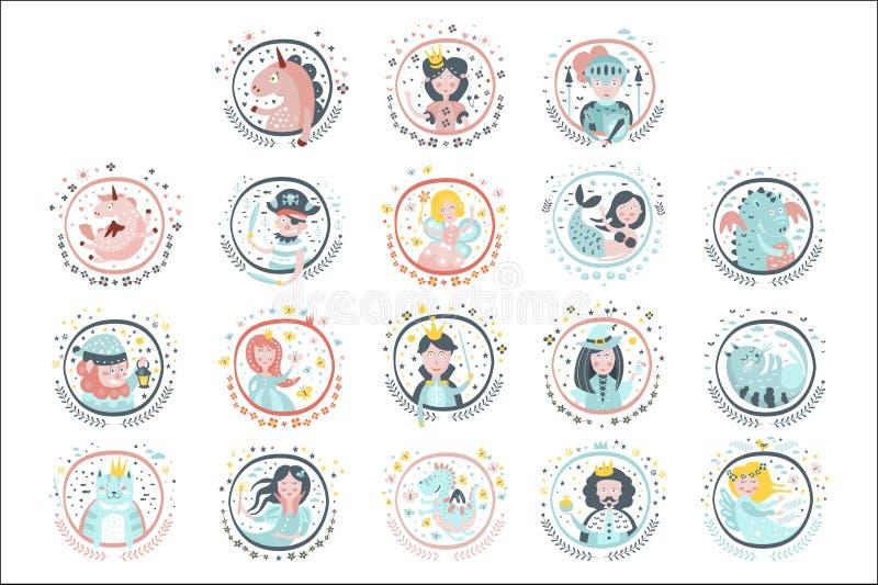 De Stickers van Girly van sprookjehelden in Ronde Kaders stock illustratie