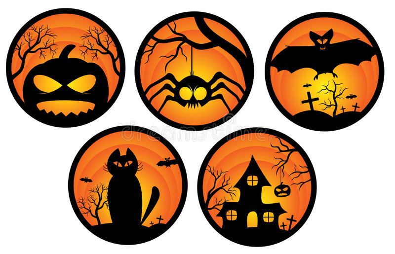 De stickers van Halloween vector illustratie
