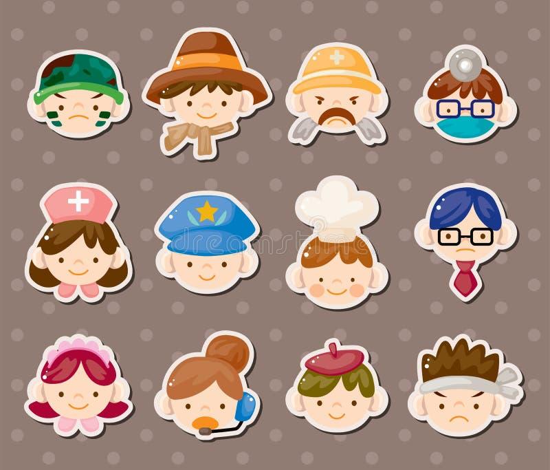 De stickers van het de baangezicht van mensen stock illustratie