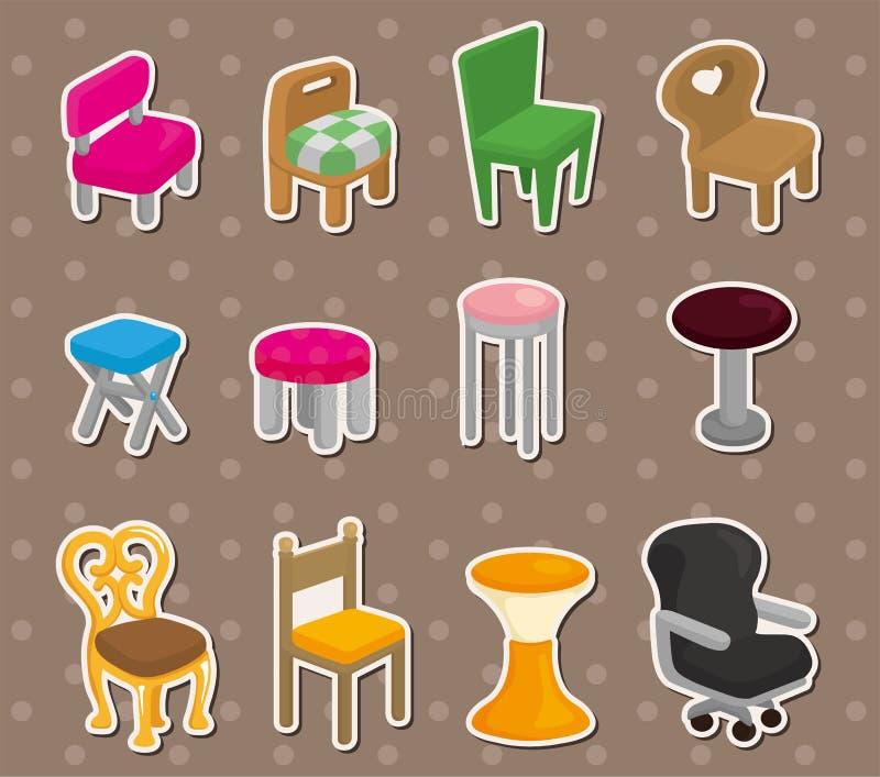 De stickers van het de stoelmeubilair van het beeldverhaal vector illustratie