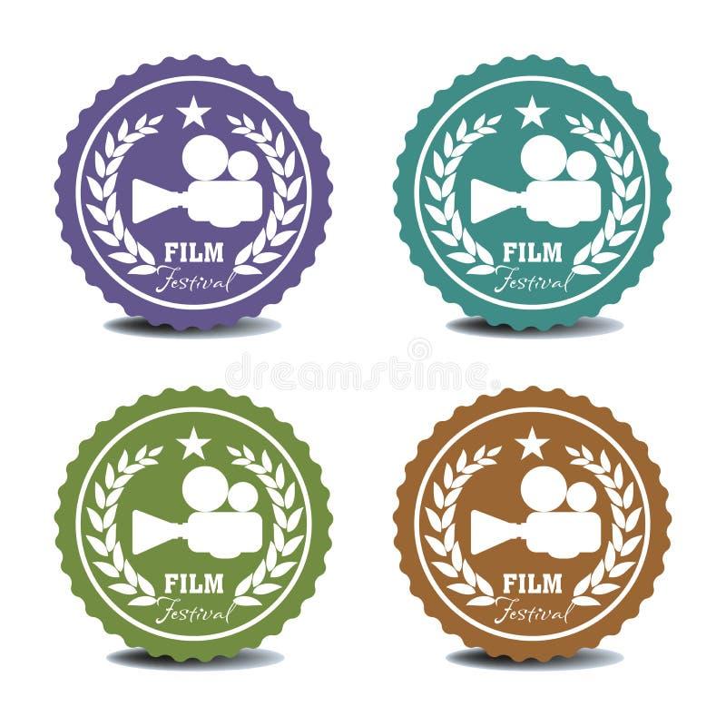 De stickers van het filmfestival royalty-vrije illustratie